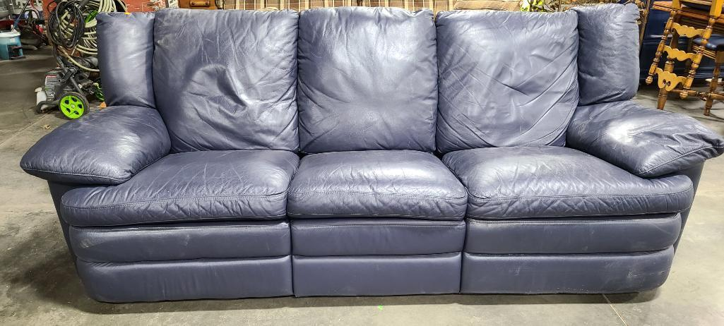 blue-leather-reclining-3-cushion-couch-vg-condition