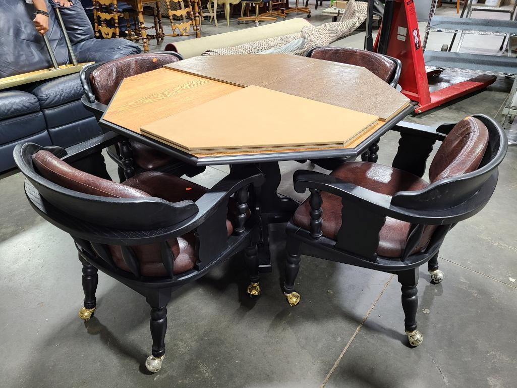 octagon-table-w-4-matching-chairs-with-folding-cover-game-surface-chairs-roll-vg-cond