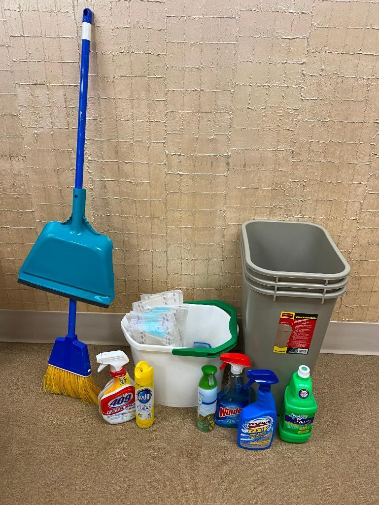 janitorial-supply-3-rubbermaid-waste-baskets-broom-dust-pan-cleaning-supplies