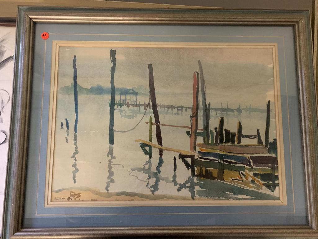 edward-lis-watercolor-harbor-scene