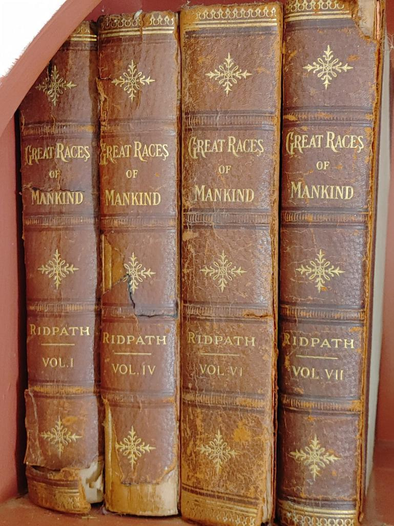4-leather-bound-antique-great-races-of-mankind-books