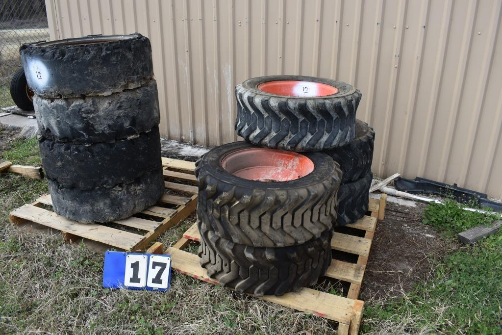 2-pallets-w-bobcat-tires-wheels