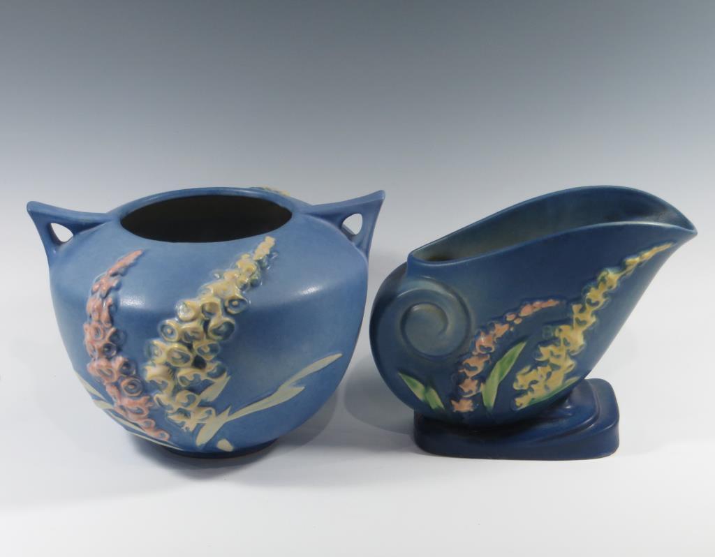 roseville-foxglove-blue-rose-bowl-blue-vase