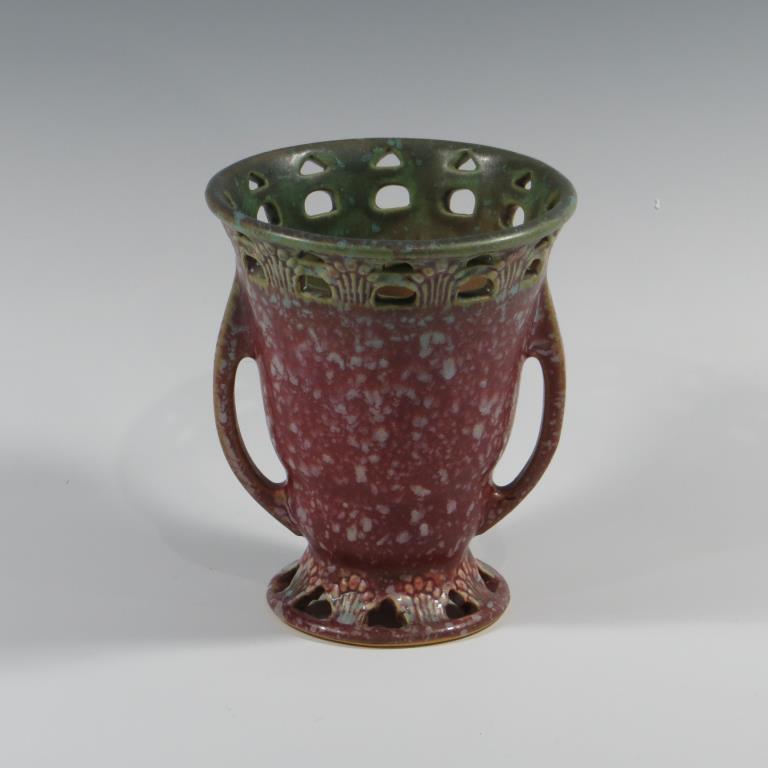 roseville-red-ferella-vase-excellent