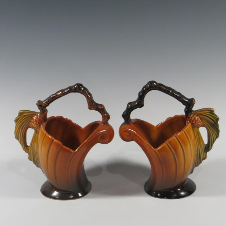 pair-of-roseville-brown-pine-cone-baskets