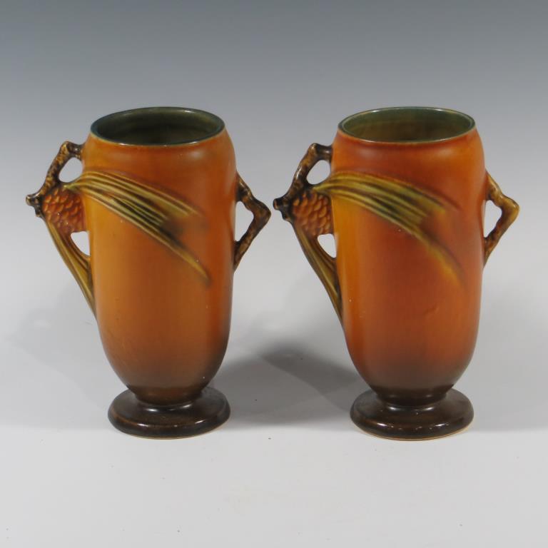 pair-of-roseville-brown-pine-cone-vases