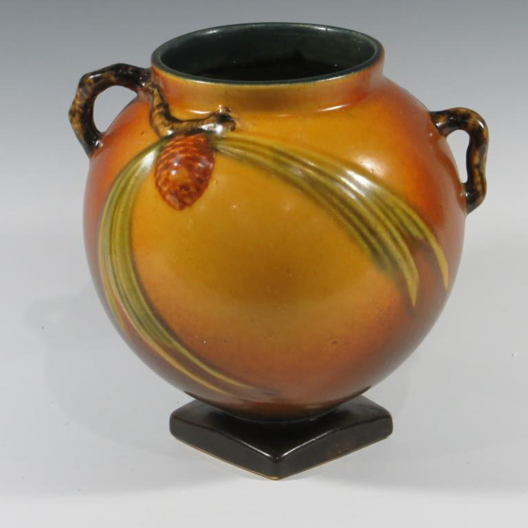 roseville-brown-pine-cone-ball-vase