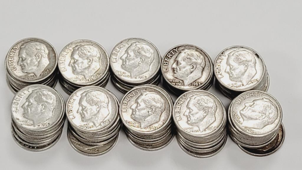 roosevelt-1963-1964-silver-dimes-100