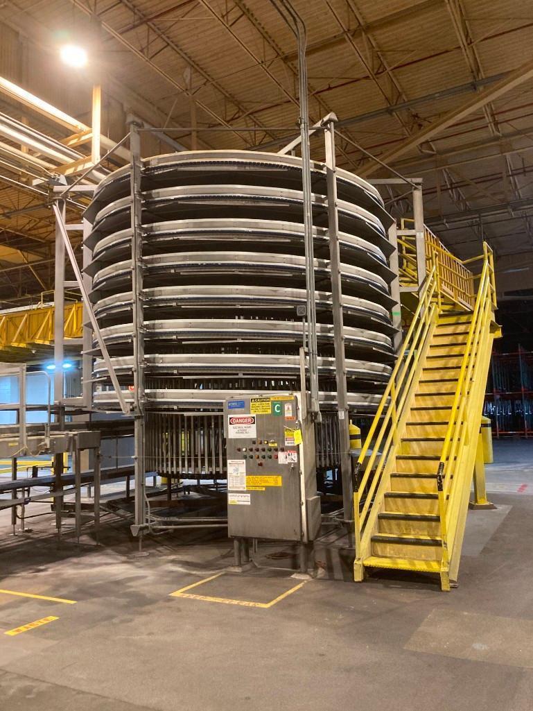 glass-line-north-field-park-associates-lowerator-bulk-glass-bottle-spiral-conveyor-model-30592-2a