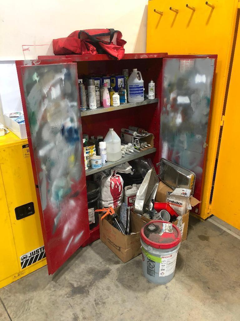 justrite-flammable-storage-cabinet-w-asst-contents-including-paint-supplies-caulking-oil-etc