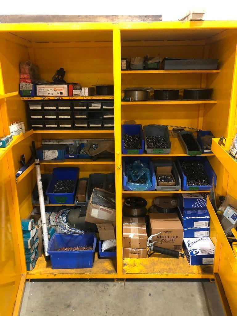 shop-built-steel-storage-cabinet-w-asst-contents-including-asst-welding-wire-bolts-nuts-electrodes-etc