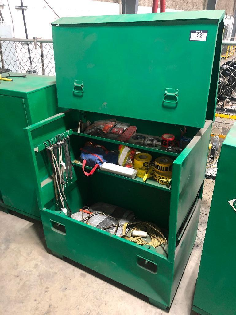 greenlee-tool-chest-w-asst-contents-including-caution-tape-bungie-cords-cable-slings-etc