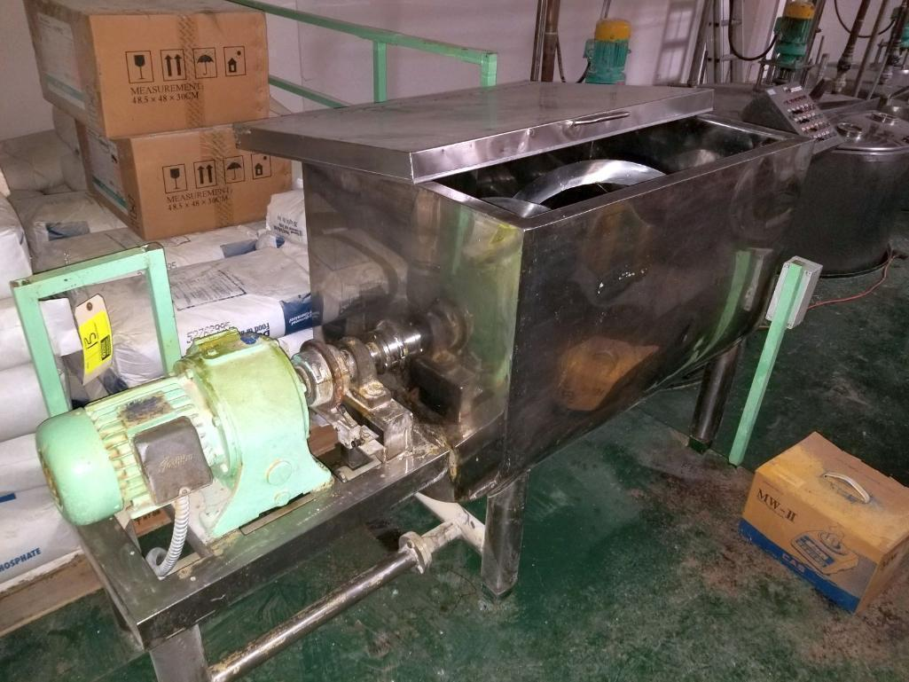 tokyo-menki-stainless-steel-ribbon-blender-15hp-with-43-x-28-x-31-jacketed-vat