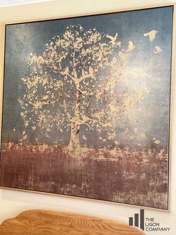 golden-bird-tree-large-framed-canvas-art-print