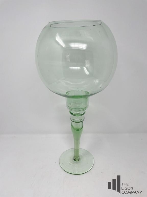 green-glass-candle-holder