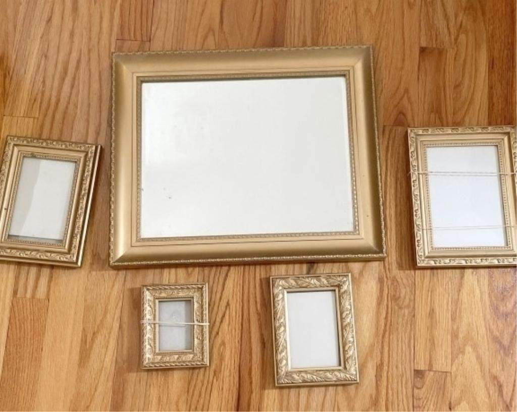 gold-toned-mirror-with-coordinating-picture-frames