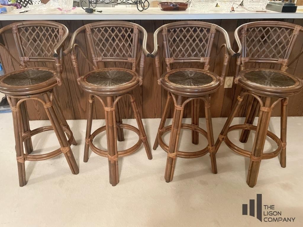mid-century-rattan-bamboo-swivel-barstools