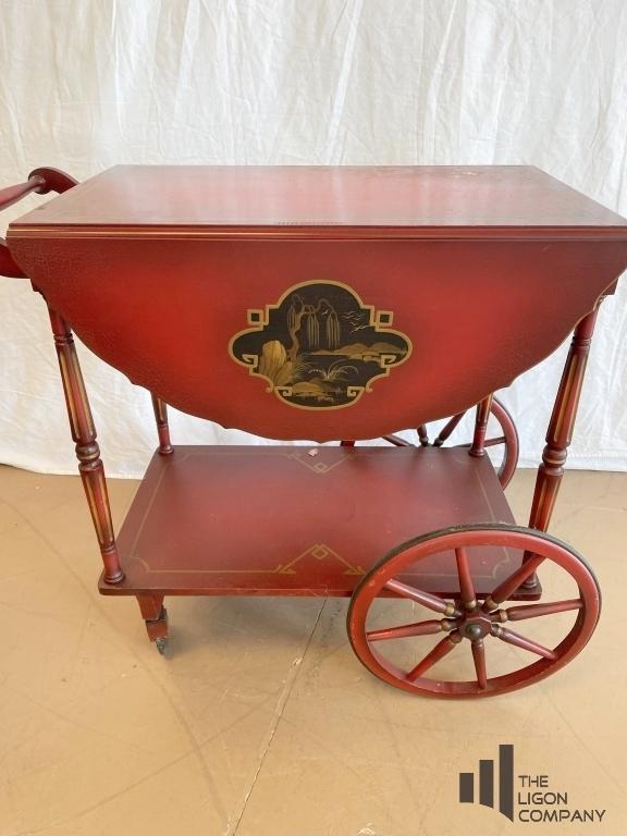 asian-motif-drop-leaf-tea-cart