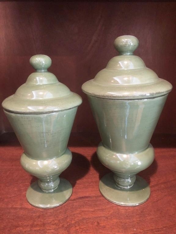 pair-of-green-lidded-urns